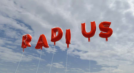 radius: RADIUS - red foil balloons on blue sky - 3D rendered royalty free stock picture. This image can be used for an online website banner ad or a print postcard. Stock Photo