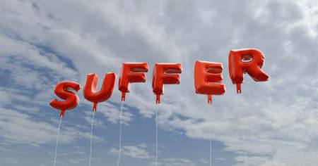 suffer: SUFFER - red foil balloons on blue sky - 3D rendered royalty free stock picture. This image can be used for an online website banner ad or a print postcard.