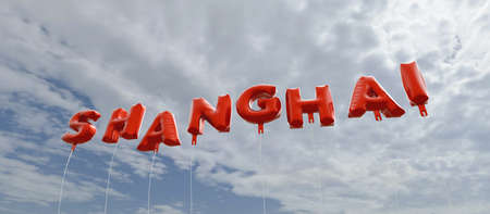 SHANGHAI - red foil balloons on blue sky - 3D rendered royalty free stock picture. This image can be used for an online website banner ad or a print postcard.