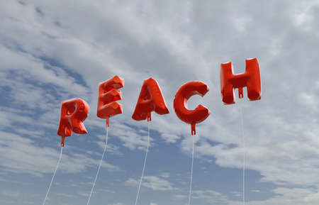 reach out: REACH - red foil balloons on blue sky - 3D rendered royalty free stock picture. This image can be used for an online website banner ad or a print postcard.