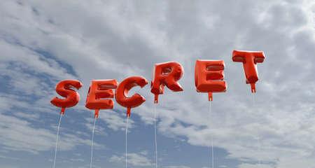 비밀 - 푸른 하늘 -3D에 붉은 호 풍선 풍선 렌더링 로열티 무료 재고 사진입니다. 이 이미지는 온라인 웹 사이트 배너 광고 또는 인쇄 엽서에 사용할 수