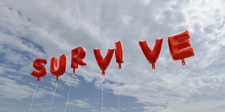 survive: SURVIVE - red foil balloons on blue sky - 3D rendered royalty free stock picture. This image can be used for an online website banner ad or a print postcard. Stock Photo