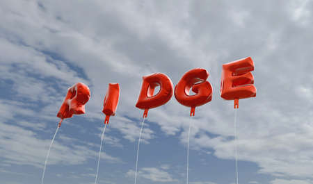 ridge: RIDGE - red foil balloons on blue sky - 3D rendered royalty free stock picture. This image can be used for an online website banner ad or a print postcard.