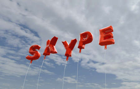 background skype: SKYPE - red foil balloons on blue sky - 3D rendered royalty free stock picture. This image can be used for an online website banner ad or a print postcard.