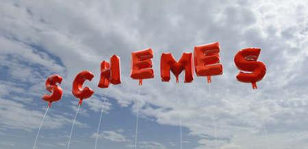 SCHEMES - 빨간 호 풍선 푸른 하늘 -3D 렌더링 로열티 무료 재고 사진입니다. 이 이미지는 온라인 웹 사이트 배너 광고 또는 인쇄 엽서에 사용할 수 있습니