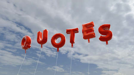 stock quotes: QUOTES - red foil balloons on blue sky - 3D rendered royalty free stock picture. This image can be used for an online website banner ad or a print postcard. Stock Photo