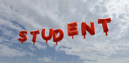 STUDENT - red foil balloons on blue sky - 3D rendered royalty free stock picture. This image can be used for an online website banner ad or a print postcard. Stock Photo