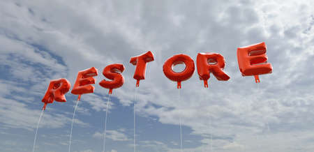 RESTORE - red foil balloons on blue sky - 3D rendered royalty free stock picture. This image can be used for an online website banner ad or a print postcard.