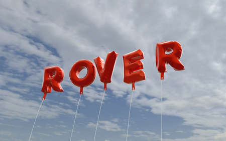 ROVER - red foil balloons on blue sky - 3D rendered royalty free stock picture. This image can be used for an online website banner ad or a print postcard. Editorial