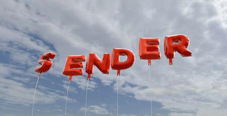 SENDER - rode folie ballonnen op blauwe hemel - beeld 3D gerenderd royalty-vrije stock. Deze afbeelding kan worden gebruikt voor een online banneradvertentie of een prentkaart.