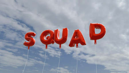 squad: SQUAD - red foil balloons on blue sky - 3D rendered royalty free stock picture. This image can be used for an online website banner ad or a print postcard.