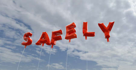 safely: SAFELY - red foil balloons on blue sky - 3D rendered royalty free stock picture. This image can be used for an online website banner ad or a print postcard. Stock Photo