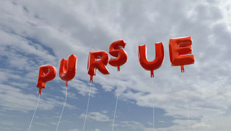 pursue: PURSUE - red foil balloons on blue sky - 3D rendered royalty free stock picture. This image can be used for an online website banner ad or a print postcard. Stock Photo