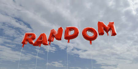 RANDOM - red foil balloons on blue sky - 3D rendered royalty free stock picture. This image can be used for an online website banner ad or a print postcard. Stock Photo