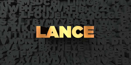 lance: Lance - Gold text on black background - 3D rendered royalty free stock picture. This image can be used for an online website banner ad or a print postcard.