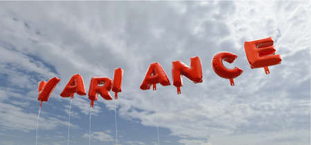 variance: VARIANCE - red foil balloons on blue sky - 3D rendered royalty free stock picture. This image can be used for an online website banner ad or a print postcard.