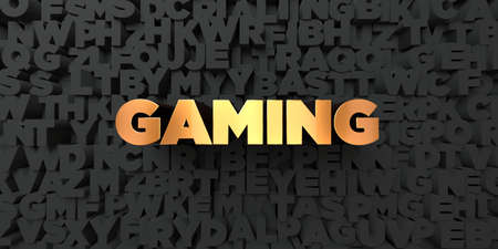 copy text: Gaming - Gold text on black background - 3D rendered royalty free stock picture. This image can be used for an online website banner ad or a print postcard. Stock Photo