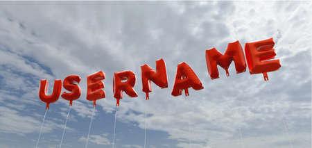 사용자 이름 - 푸른 하늘 -3d에 빨간색 호 풍선 풍선을 렌더링 로열티 무료 재고 사진입니다. 이 이미지는 온라인 웹 사이트 배너 광고 또는 인쇄 엽서에