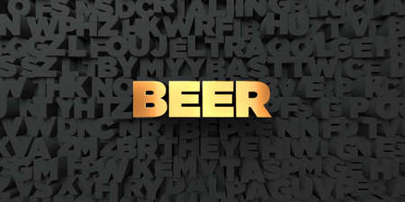 royalty free: Beer - Gold text on black background - 3D rendered royalty free stock picture. This image can be used for an online website banner ad or a print postcard. Stock Photo