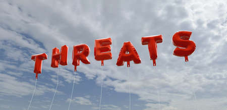 threats: THREATS - red foil balloons on blue sky - 3D rendered royalty free stock picture. This image can be used for an online website banner ad or a print postcard. Stock Photo