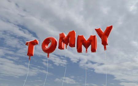 tommy: TOMMY - red foil balloons on blue sky - 3D rendered royalty free stock picture. This image can be used for an online website banner ad or a print postcard.