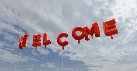 copy text: WELCOME - red foil balloons on blue sky - 3D rendered royalty free stock picture. This image can be used for an online website banner ad or a print postcard.