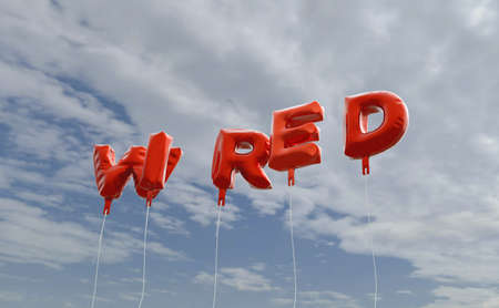 WIRED - red foil balloons on blue sky - 3D rendered royalty free stock picture. This image can be used for an online website banner ad or a print postcard.