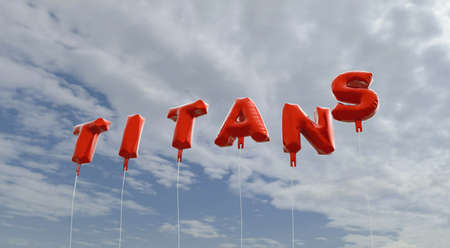 TITANS - red foil balloons on blue sky - 3D rendered royalty free stock picture. This image can be used for an online website banner ad or a print postcard.