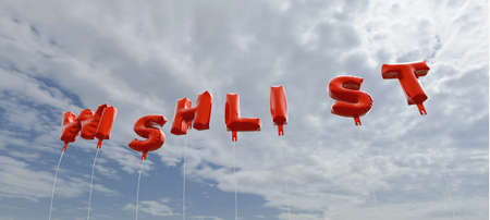 WISHLIST - red foil balloons on blue sky - 3D rendered royalty free stock picture. This image can be used for an online website banner ad or a print postcard. Stock Photo