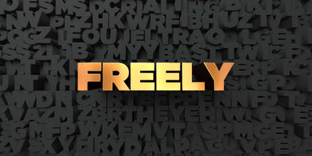 freely: Freely - Gold text on black background - 3D rendered royalty free stock picture. This image can be used for an online website banner ad or a print postcard.