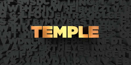Temple - Gold text on black background - 3D rendered royalty free stock picture. This image can be used for an online website banner ad or a print postcard. Reklamní fotografie