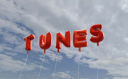 tunes: TUNES - red foil balloons on blue sky - 3D rendered royalty free stock picture. This image can be used for an online website banner ad or a print postcard.
