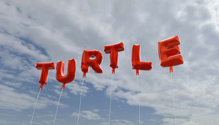 TURTLE - red foil balloons on blue sky - 3D rendered royalty free stock picture. This image can be used for an online website banner ad or a print postcard.