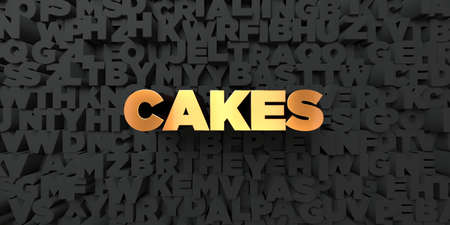Cakes - Gold text on black background - 3D rendered royalty free stock picture. This image can be used for an online website banner ad or a print postcard.