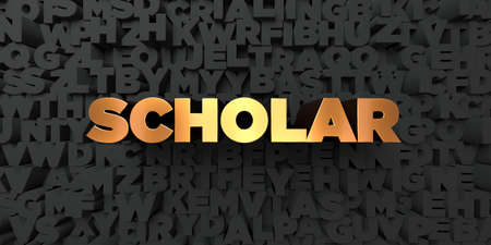 Scholar - Gold text on black background - 3D rendered royalty free stock picture. This image can be used for an online website banner ad or a print postcard.