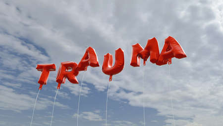 TRAUMA - red foil balloons on blue sky - 3D rendered royalty free stock picture. This image can be used for an online website banner ad or a print postcard. 版權商用圖片