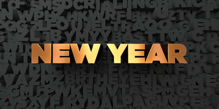 copy text: New year - Gold text on black background - 3D rendered royalty free stock picture. This image can be used for an online website banner ad or a print postcard. Stock Photo