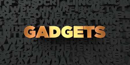 royalty free: Gadgets - Gold text on black background - 3D rendered royalty free stock picture. This image can be used for an online website banner ad or a print postcard. Stock Photo
