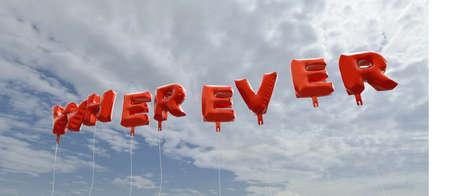 푸른 하늘 -3D에 빨간색 호 풍선 - 어디 렌더링 된 로열티 무료 재고 사진입니다. 이 이미지는 온라인 웹 사이트 배너 광고 또는 인쇄 엽서에 사용할 수