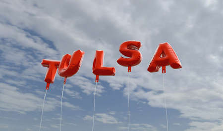 TULSA - red foil balloons on blue sky - 3D rendered royalty free stock picture. This image can be used for an online website banner ad or a print postcard. Stock Photo