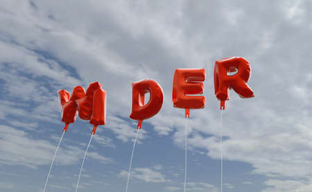 WIDER - red foil balloons on blue sky - 3D rendered royalty free stock picture. This image can be used for an online website banner ad or a print postcard. Stock Photo