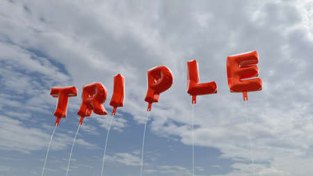 TRIPLE - red foil balloons on blue sky - 3D rendered royalty free stock picture. This image can be used for an online website banner ad or a print postcard. Фото со стока