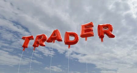stock trader: TRADER - red foil balloons on blue sky - 3D rendered royalty free stock picture. This image can be used for an online website banner ad or a print postcard.