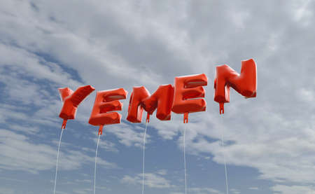 YEMEN - red foil balloons on blue sky - 3D rendered royalty free stock picture. This image can be used for an online website banner ad or a print postcard. Stock Photo