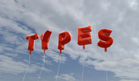 TYPES - red foil balloons on blue sky - 3D rendered royalty free stock picture. This image can be used for an online website banner ad or a print postcard.