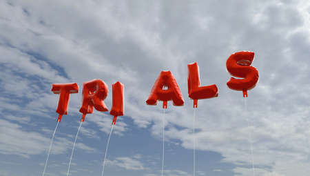 trials: TRIALS - red foil balloons on blue sky - 3D rendered royalty free stock picture. This image can be used for an online website banner ad or a print postcard. Stock Photo