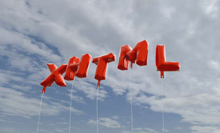 xhtml: XHTML - red foil balloons on blue sky - 3D rendered royalty free stock picture. This image can be used for an online website banner ad or a print postcard. Stock Photo