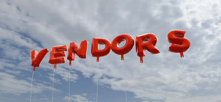 vendors: VENDORS - red foil balloons on blue sky - 3D rendered royalty free stock picture. This image can be used for an online website banner ad or a print postcard. Stock Photo