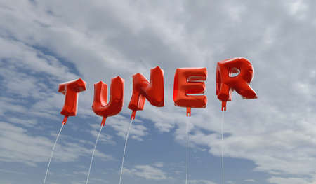tuner: TUNER - red foil balloons on blue sky - 3D rendered royalty free stock picture. This image can be used for an online website banner ad or a print postcard. Stock Photo