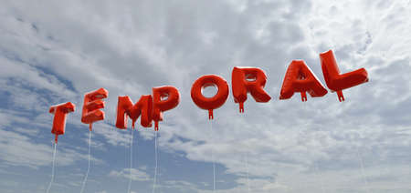 TEMPORAL - red foil balloons on blue sky - 3D rendered royalty free stock picture. This image can be used for an online website banner ad or a print postcard.